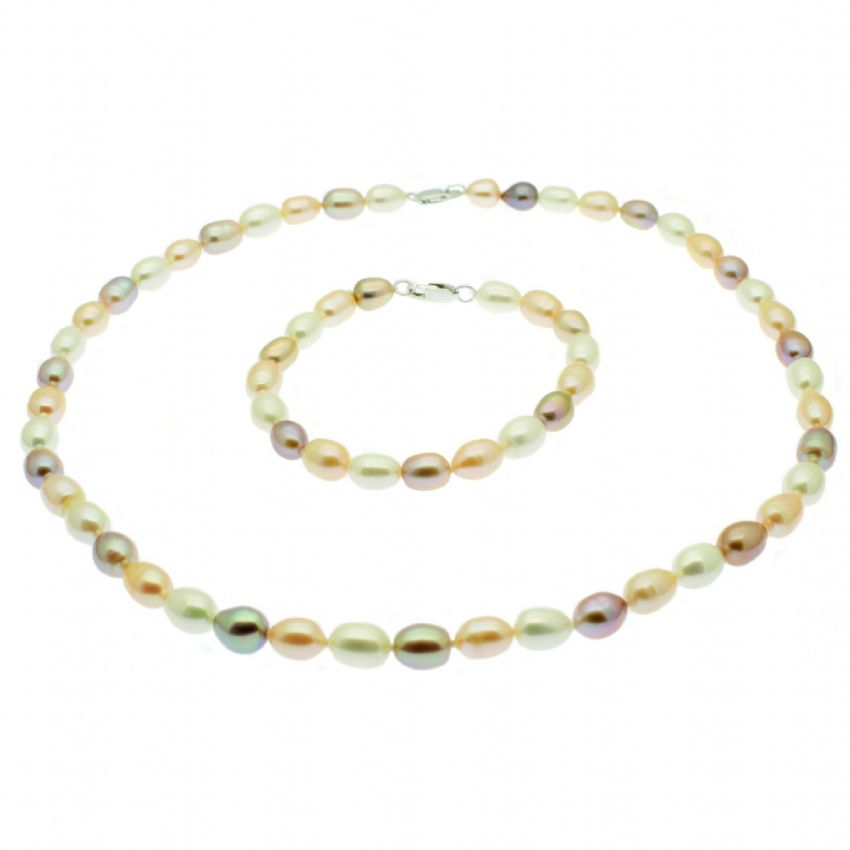 Pearl Necklace & Bracelet Set Sterling Silver Pastel Pink Oval Cultured Pearls
